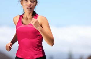 athletic woman running for fat burning